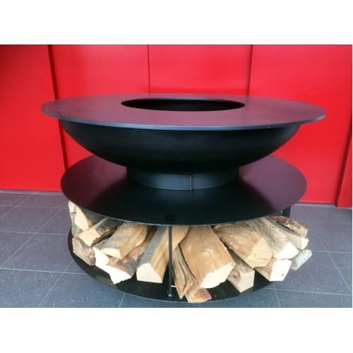 stahl feuerschalen mit grillring und abgedeckter ablage im standfuss. Black Bedroom Furniture Sets. Home Design Ideas